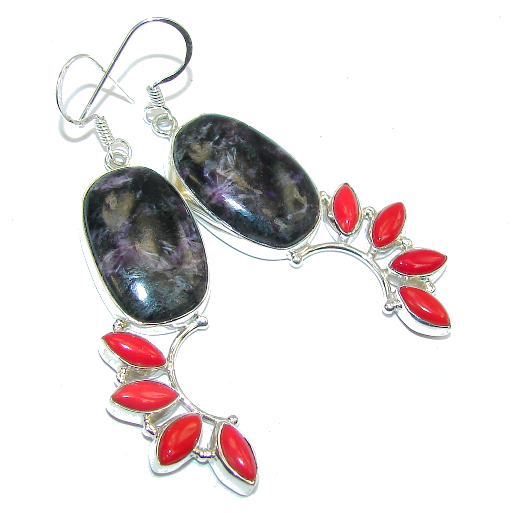 Fabulous Purple Charoite Sterling Silver earrings / Long