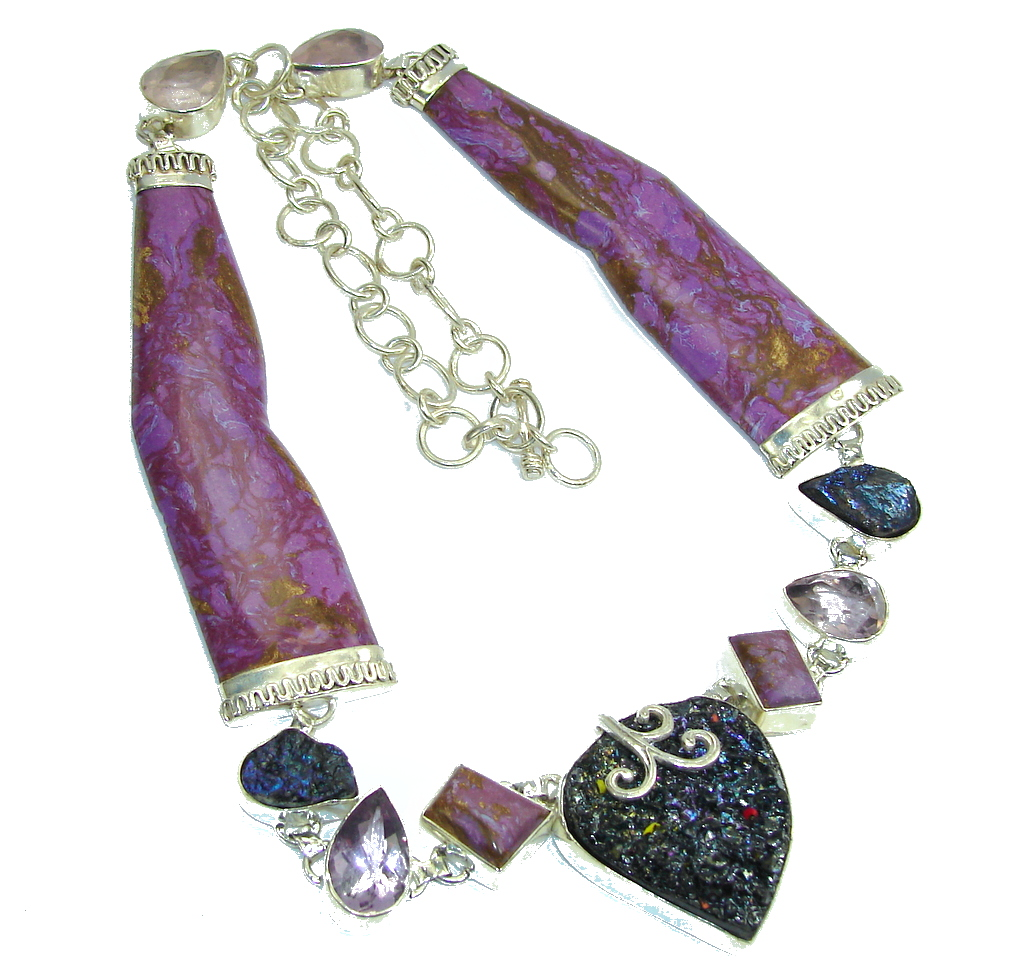 Very Chunky Purple Enigma Purple Charoite Sterling Silver handmade Necklace