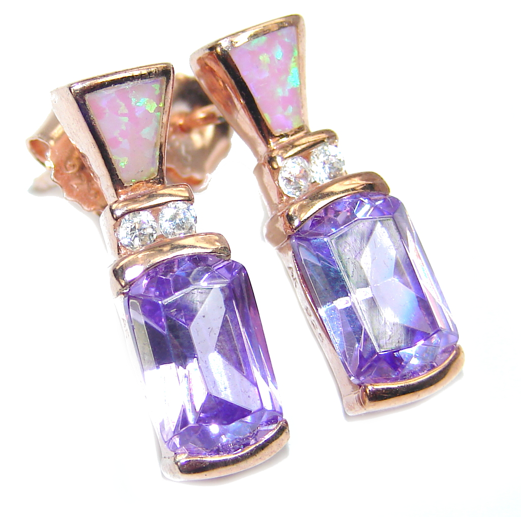 Amazing Japanese Fire Opal & Amethyst, Rose Gold Plated Sterling Silver earrings