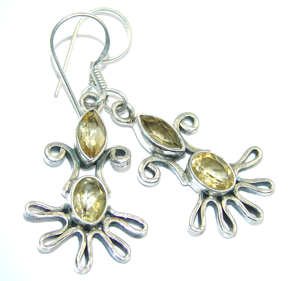 Delicate Yellow Citrine Sterling Silver Earrings