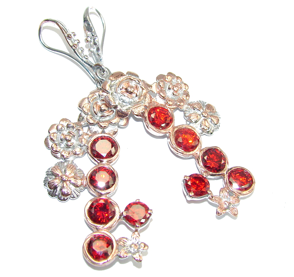 Graceful Beauty Red created Ruby Rose Gold plated Sterling Silver earrings