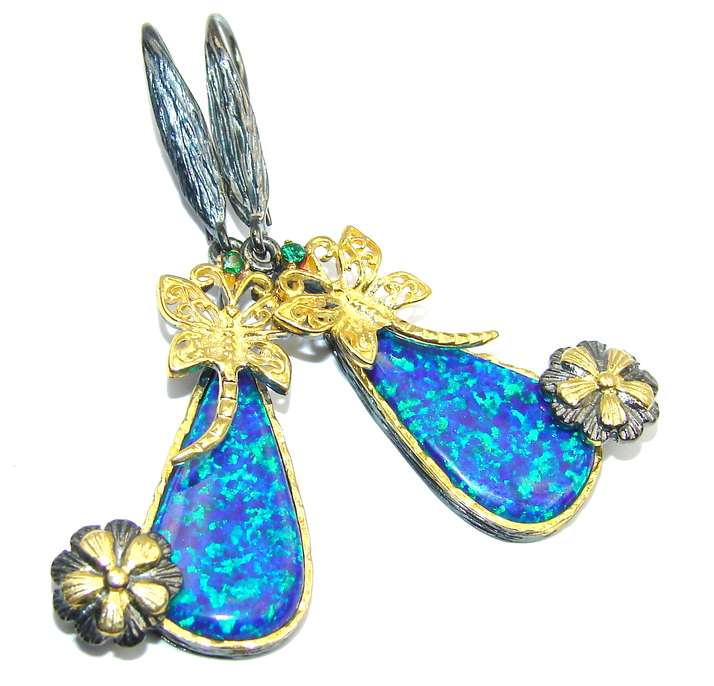 Exclusive Blue Fire Opal, Gold Plated, Rhodium Plated Sterling Silver earrings / Long