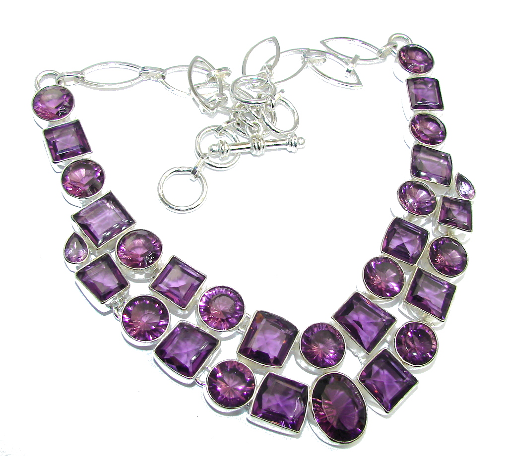 Lavender Dream Created AAA Purple Amethyst Sterling Silver Necklace