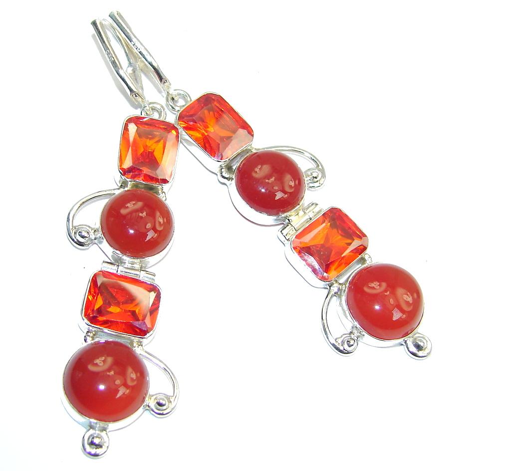 Excellent Orange Carnelian & Red Quartz Sterling Silver earrings