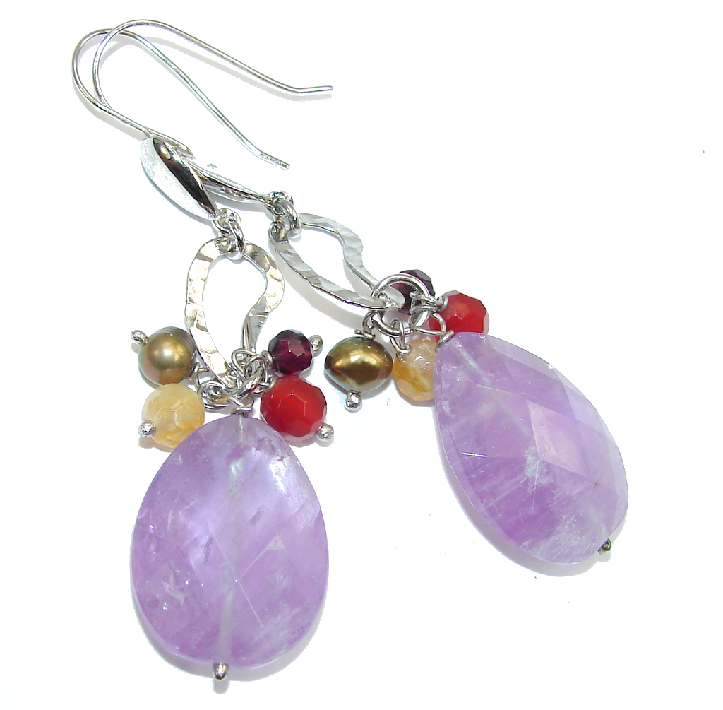 Big! Lavender Spin Purple Amethyst Sterling Silver earrings