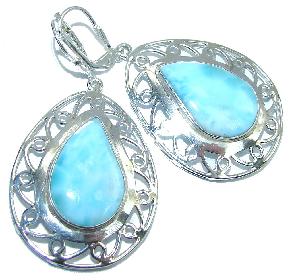 Huge Natural AAA Blue Larimar Sterling Silver earrings