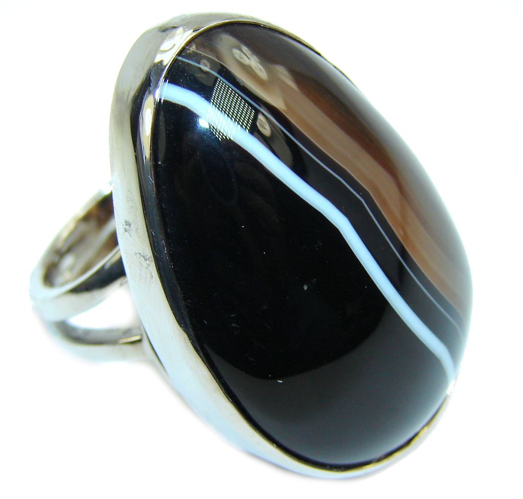 Big! Excellent Brown Botswana Agate Sterling Silver Ring s. 7 - adjustable
