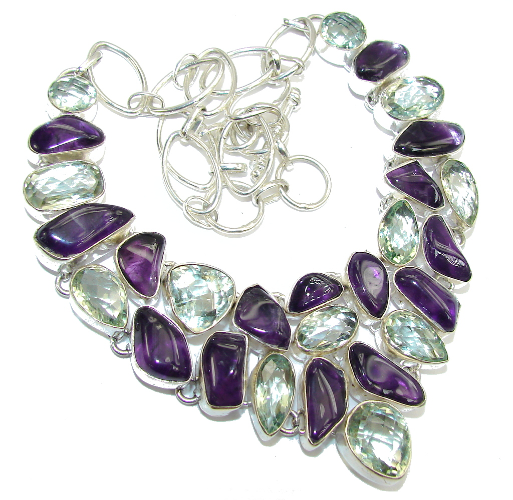 Path Of Life! Green & Purple Amethyst Sterling Silver Necklace