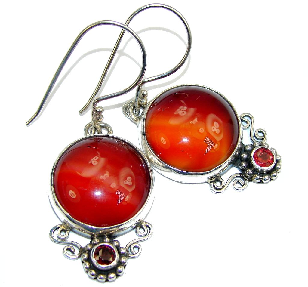 Excellent Orange Carnelian & Garnet Sterling Silver earrings