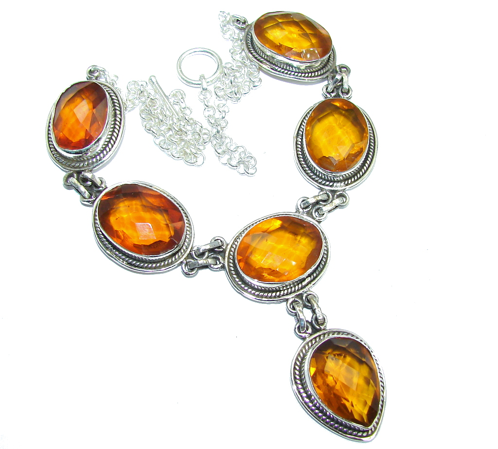 Amazing created Golden Topaz Handcrafted Sterling Silver necklace