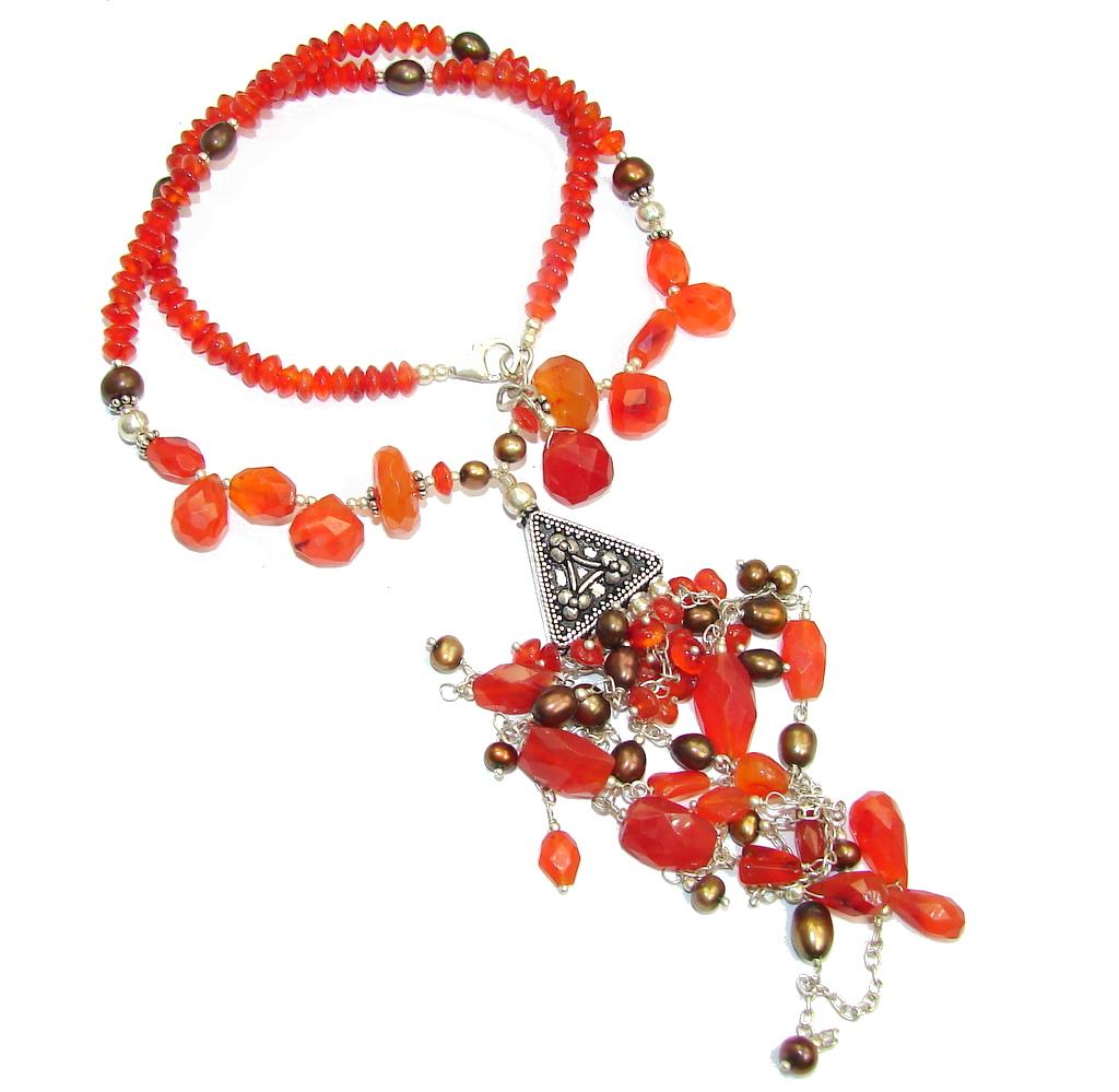 Summer Design Orange Carved Carnelian Sterling Silver Necklace