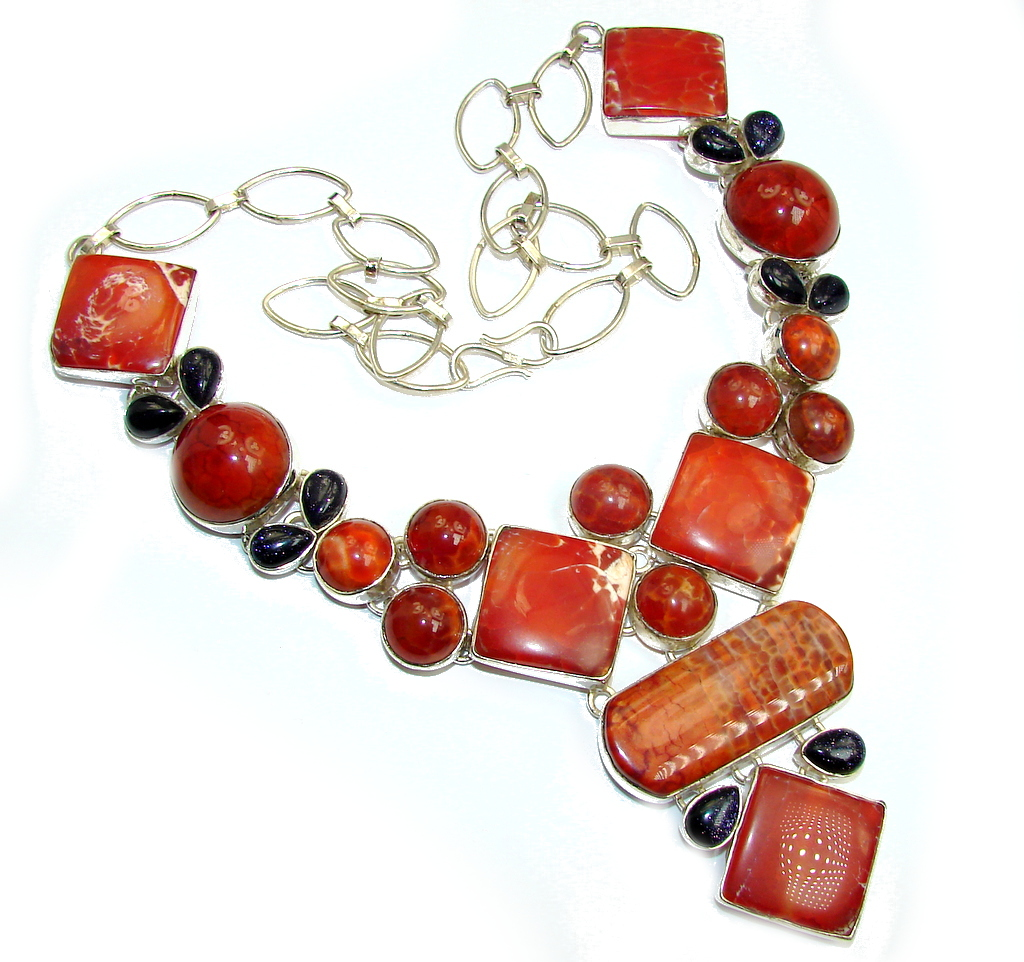 Giant! Chunky Aura Of Beauty Mexican Fire Agate Sterling Silver necklace