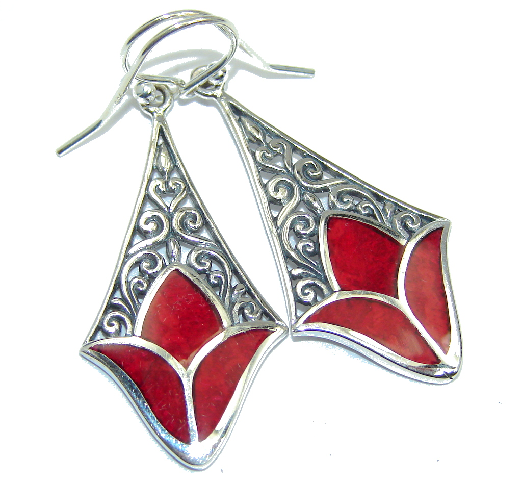 Just Lovely! Red Fossilized Coral Sterling Silver earrings