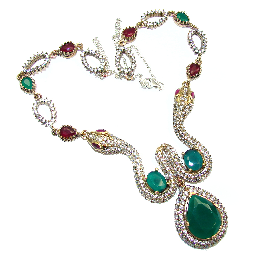 Victorian Style Snakes Green Emerald & White Topaz Sterling Silver necklace