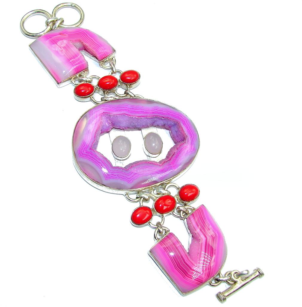Secret Handcrafted Pink Agate Druzy Sterling Silver Bracelet