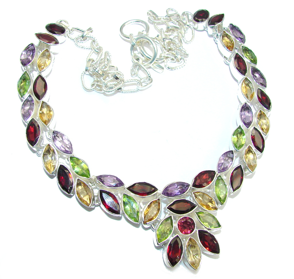 Aura Of Beauty Multigem Sterling Silver Necklace