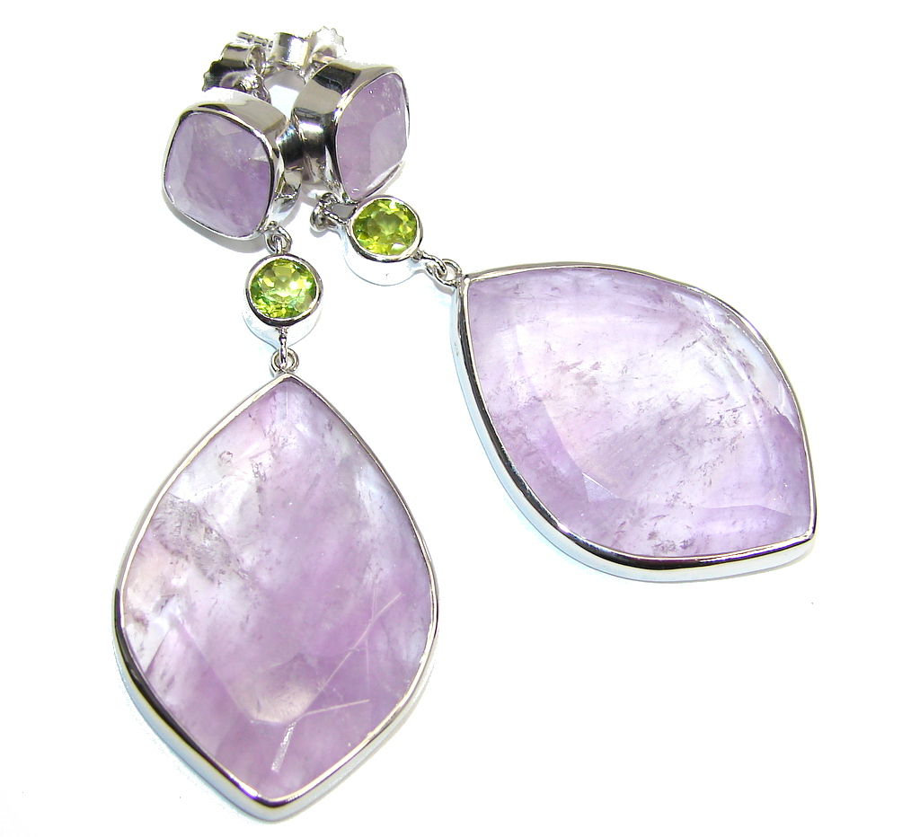 Chunky Perfect Genuine Amethyst Sterling Silver earrings