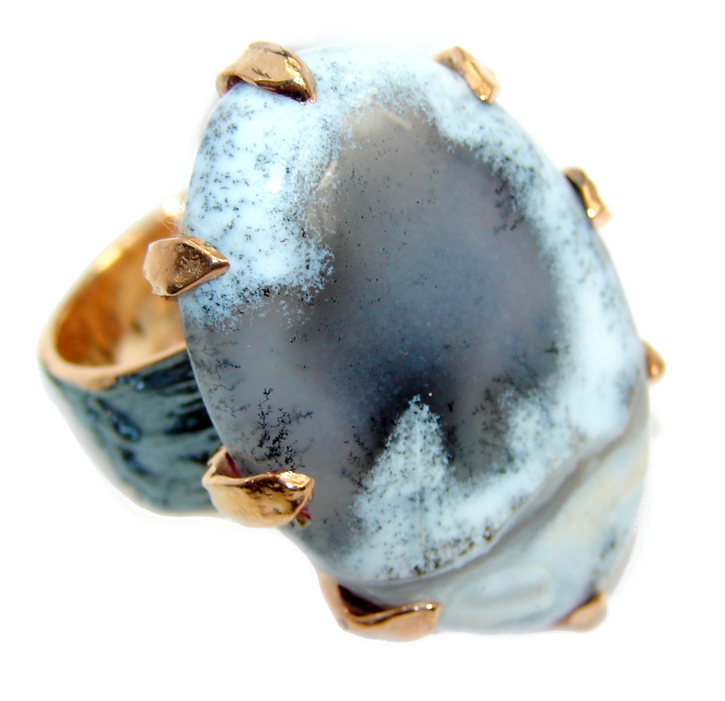 Snow Queen AAA Dendritic Agate Rose Gold Rhodium Plated Sterling Silver Ring s. 7 1/4