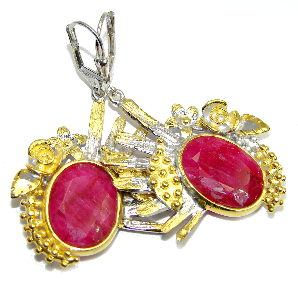 Beautiful intense Red Ruby Gold Rhodium Plated over Sterling Silver earrings