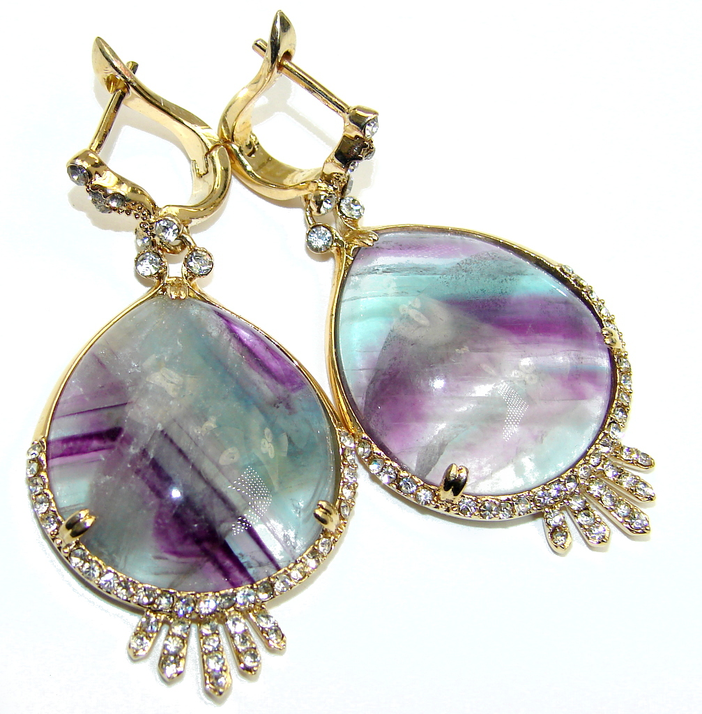 Hollywood Style Genuine Purple Fluorite Gold Plated over Sterling Silver earrings