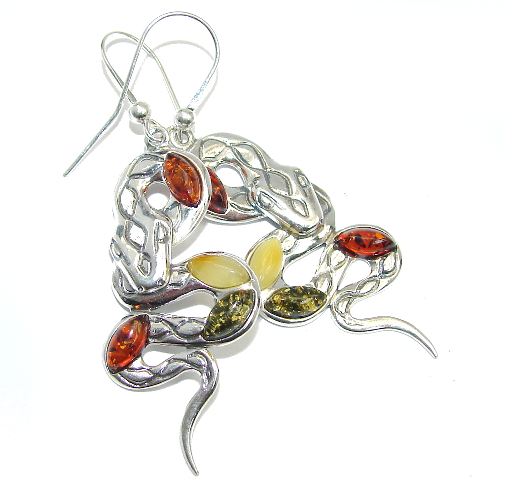 Snakes Polish Amber Sterling Silver Earrings