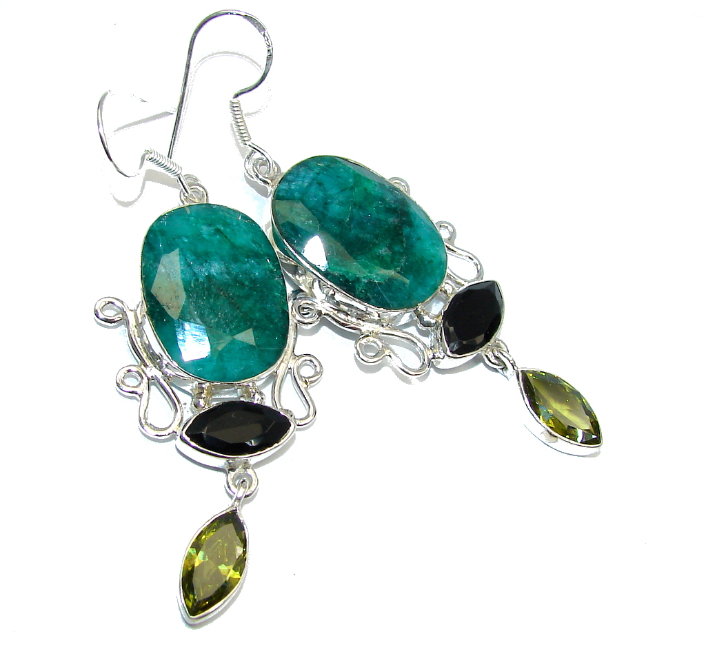 Big and Solid Emerald & Onyx Sterling Silver earrings