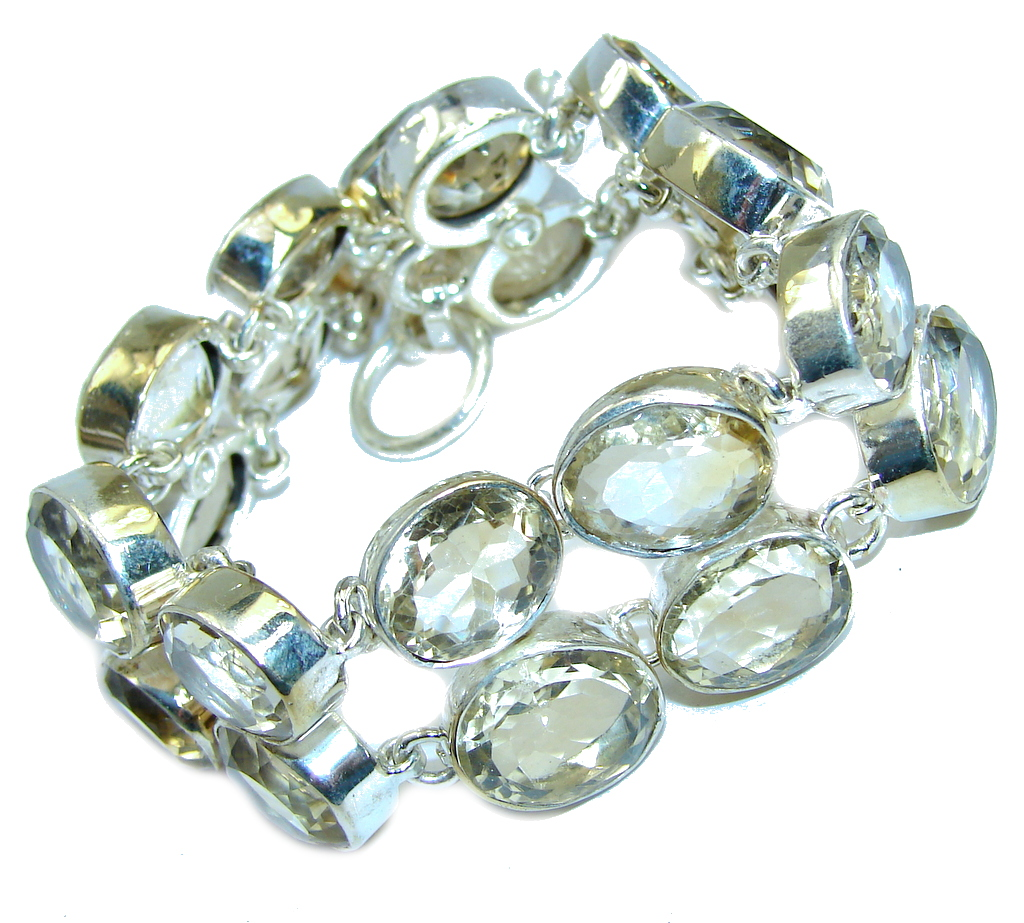 Beautiful Natural Faceted Citrine Fossil Sterling Silver Bracelet