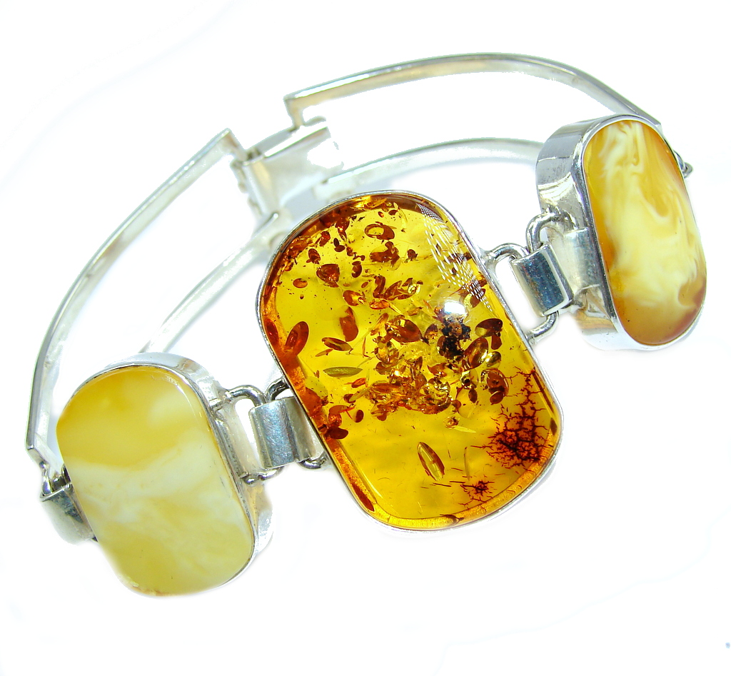 Beautiful Butterscotch AAA Baltic Polish Amber Sterling Silver Bracelet