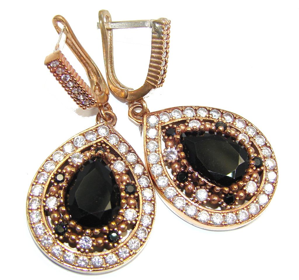 Outstanding Victorian Style Onyx copper covered Sterling Silver Earrings