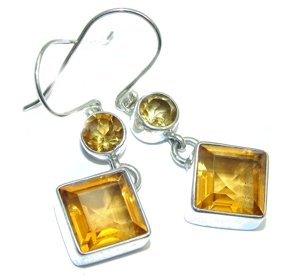 Handcrafted Yellow Golden Quartz Sterling Silver earrings