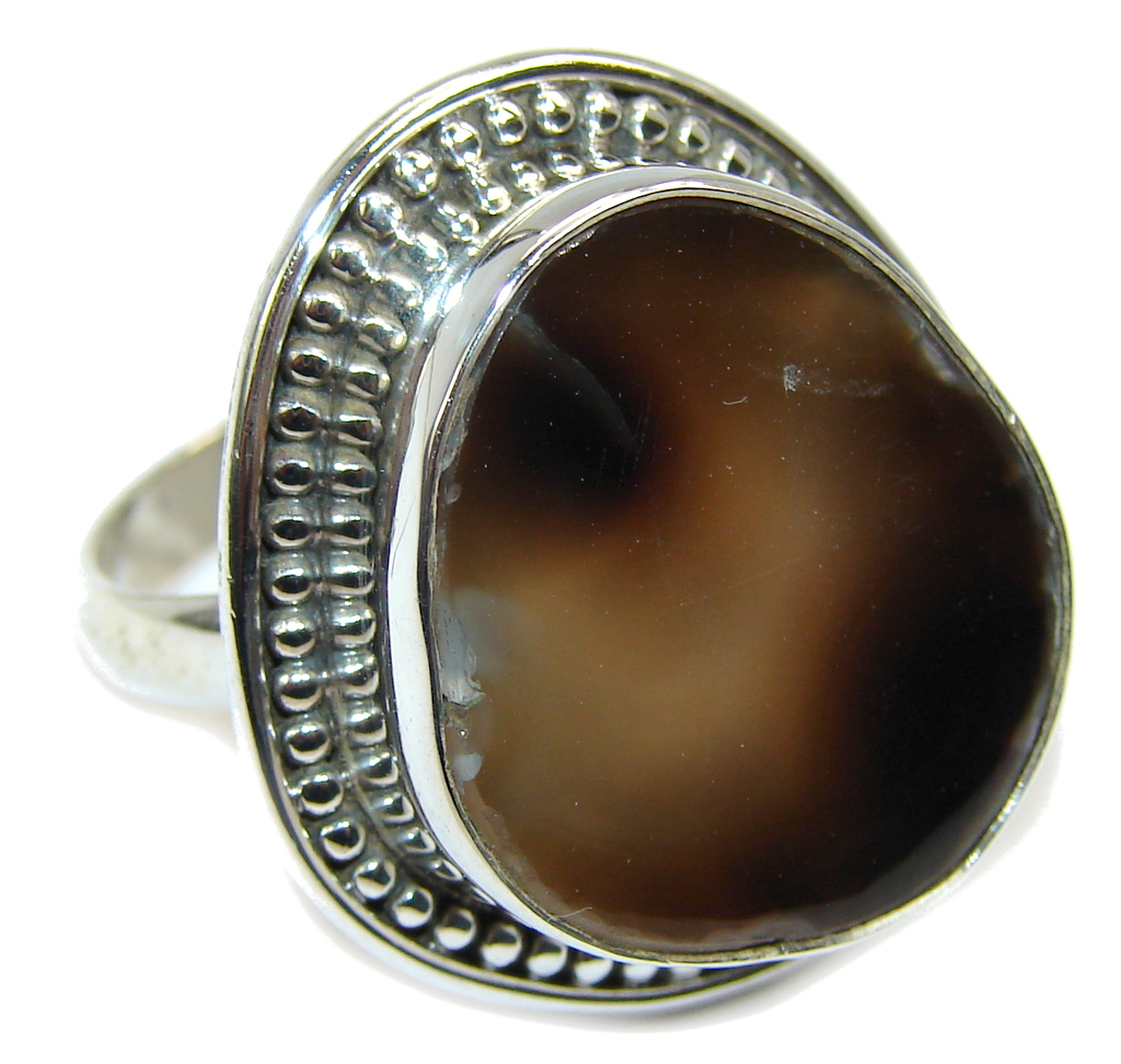 Genuine Botswana Agate Sterling Silver ring s. 9
