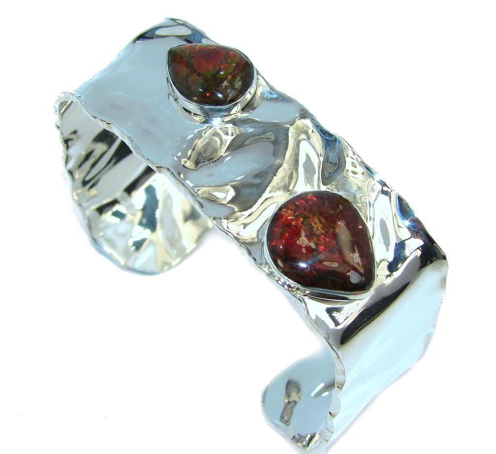 Beautiful New Design Red Ammolites hammered Sterling Silver Bracelet / Cuff