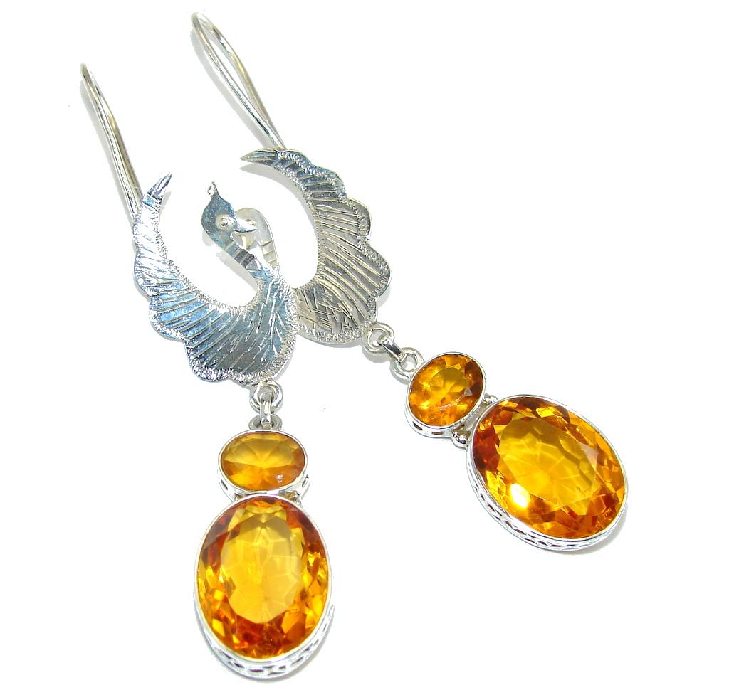 Great Orange Cubic Zirconia Sterling Silver earrings