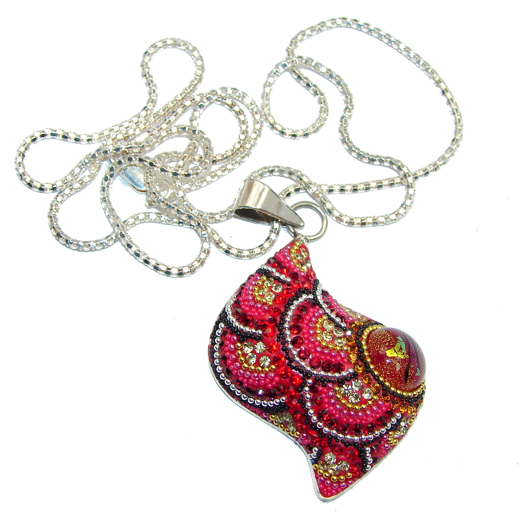 Touch Of Life Red Crystals Mexico Made Sterling Silver necklace