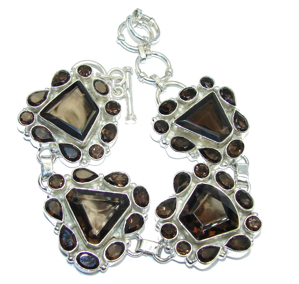 Circle of Life Brown Smoky Topaz Sterling Silver Bracelet