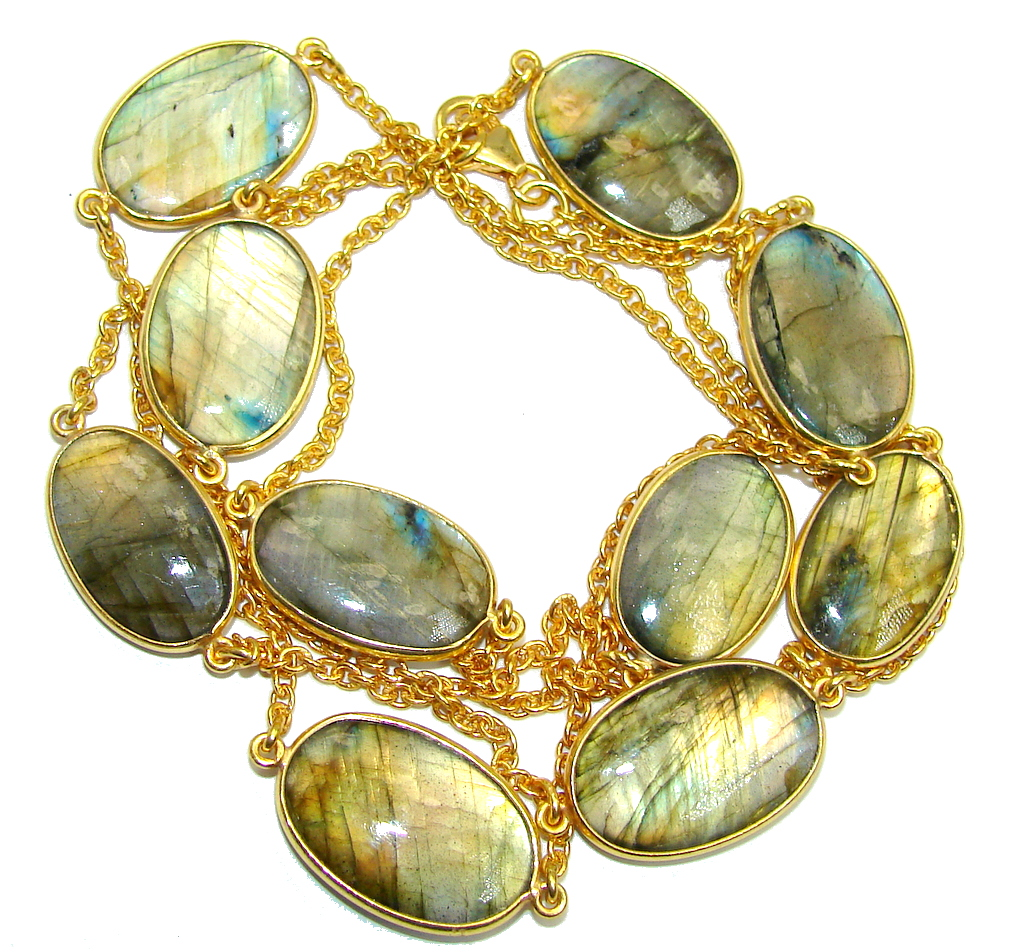 36 inches Genuine Fire Labradorite Gold over Sterling Silver Necklace