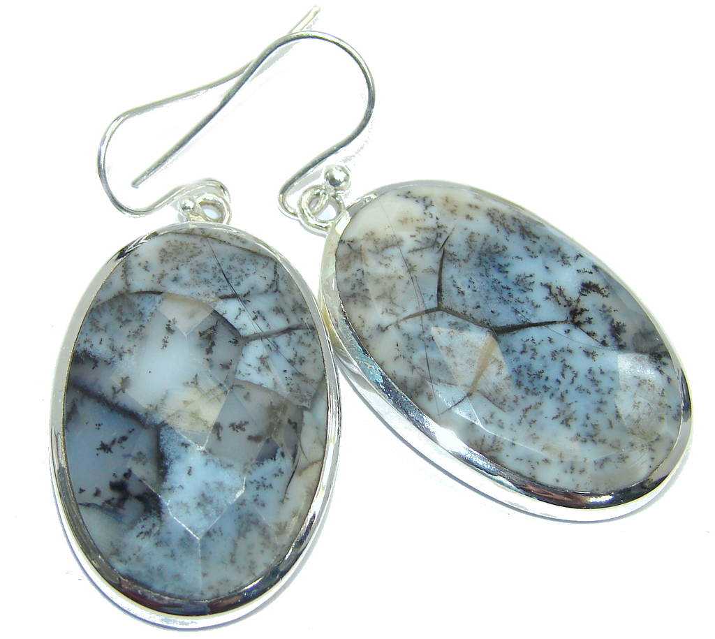 Chunky Moss White Dendritic Agate Sterling Silver earrings