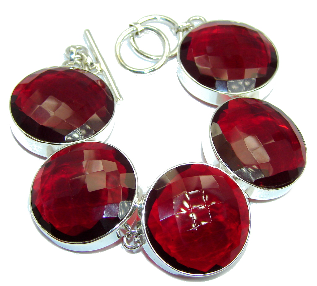 Amazing Flawless Passion Red Quartz Sterling Silver Bracelet