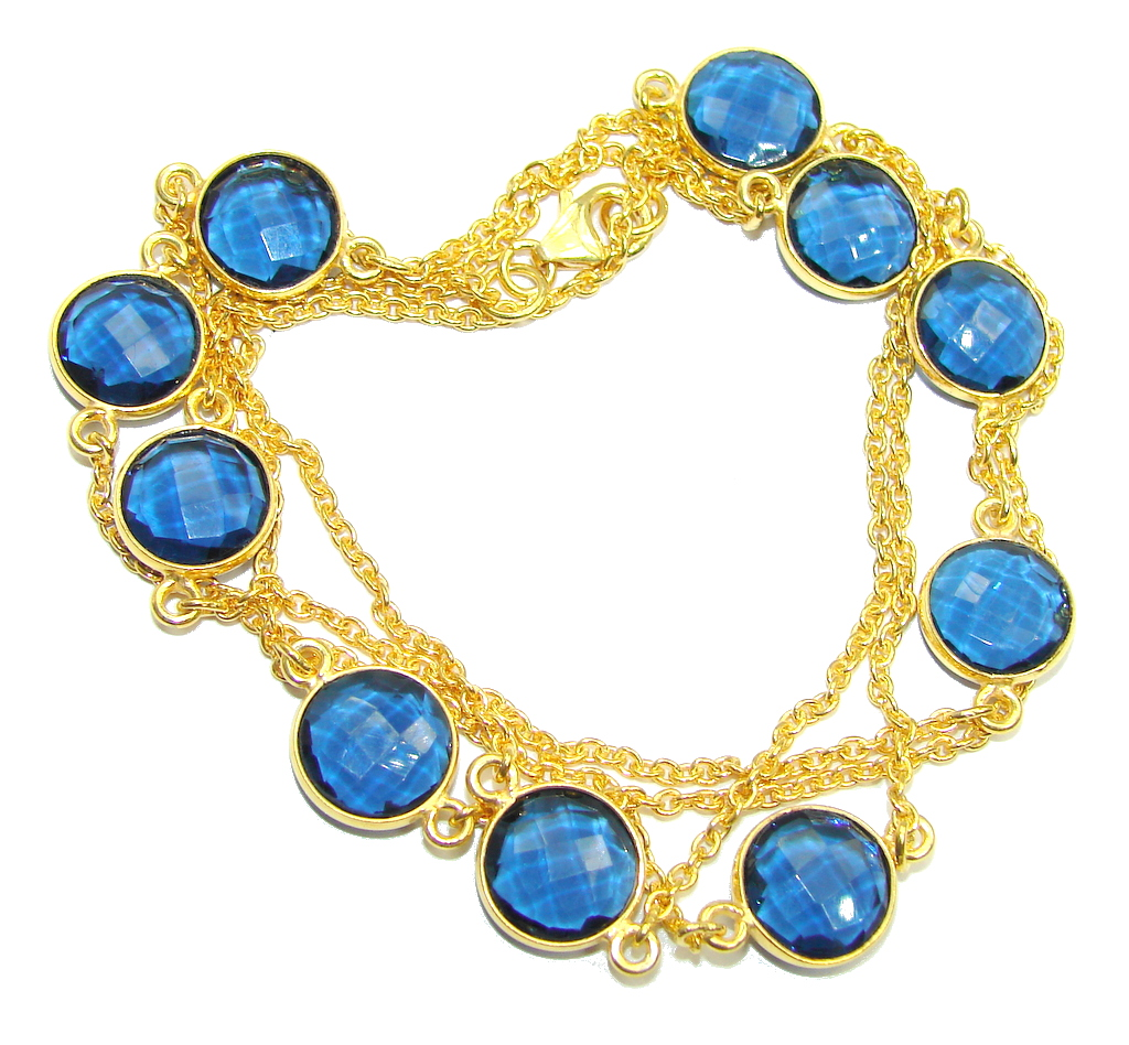 36 inches created Sapphire Gold over Sterling Silver Necklace
