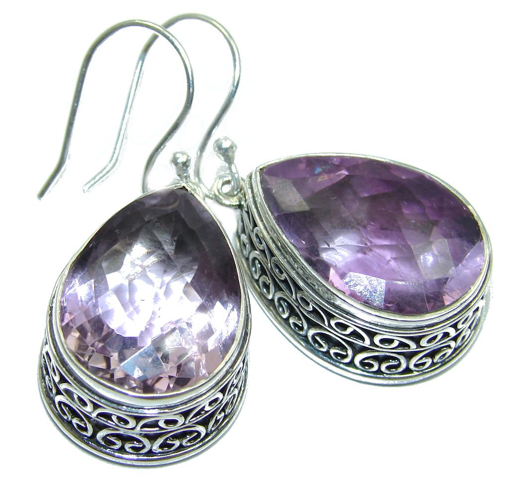 Huge Rich Vintage Design Purple Amethyst Sterling Silver earrings