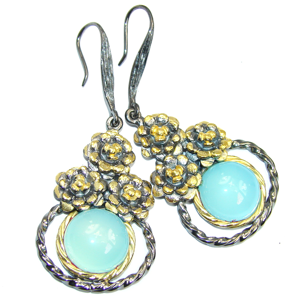 Exclusive Design Chalcedony Agate Gold Rhodium Plated Sterling Silver earrings