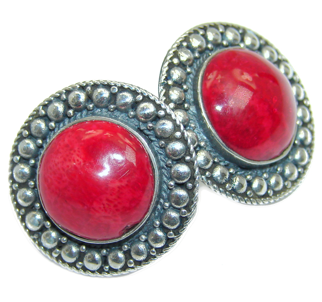 Deep Love Red Fossilized Coral Sterling Silver earrings