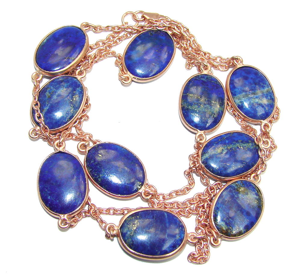 36 inches Genuine Lapis Lazuli Gold over Sterling Silver Necklace