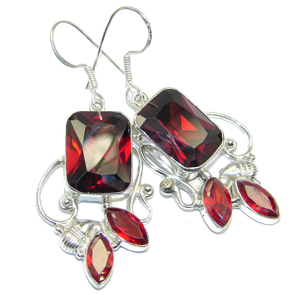Great Red Cubic Zirconia Sterling Silver earrings