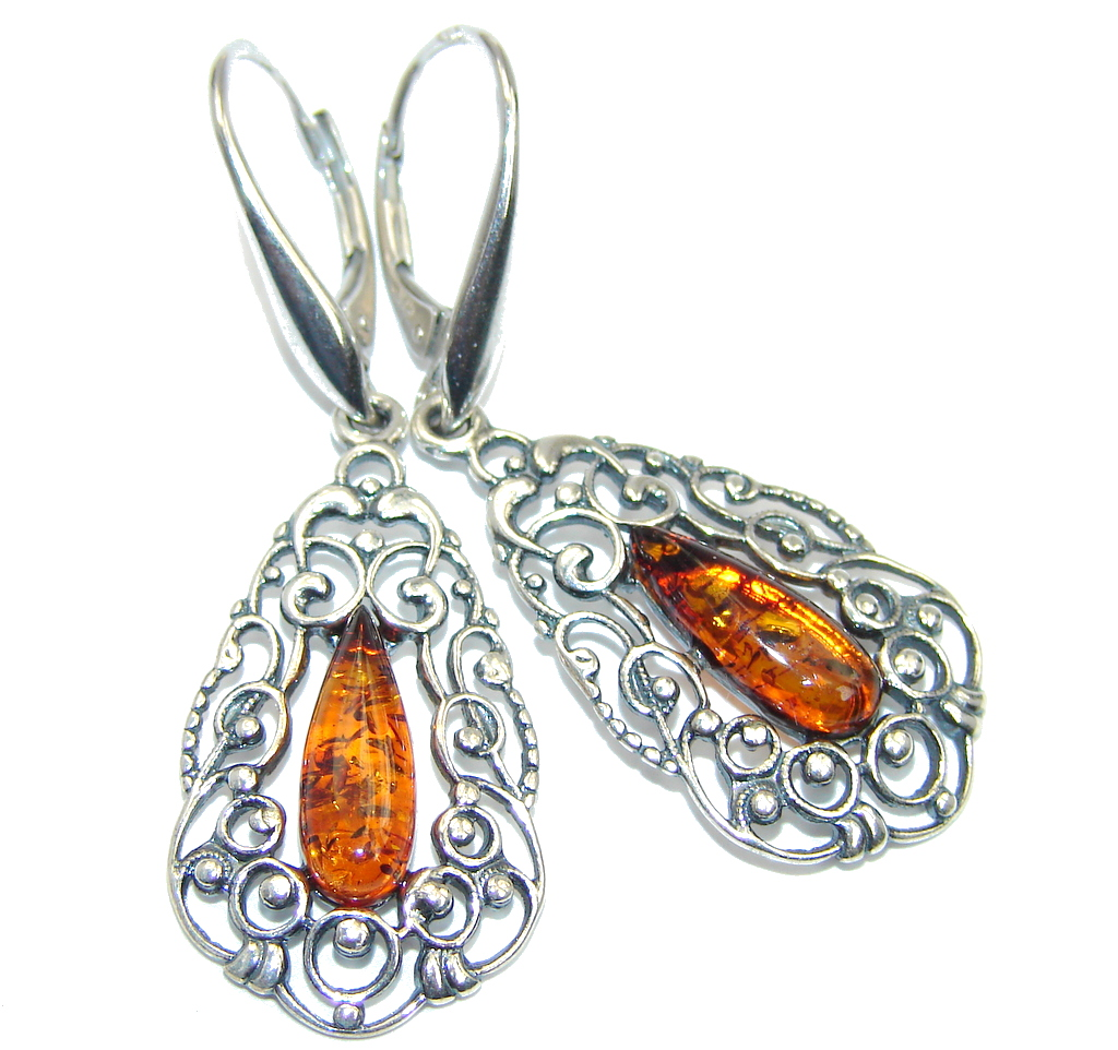 Back to Nature Baltic Amber Sterling Silver earrings