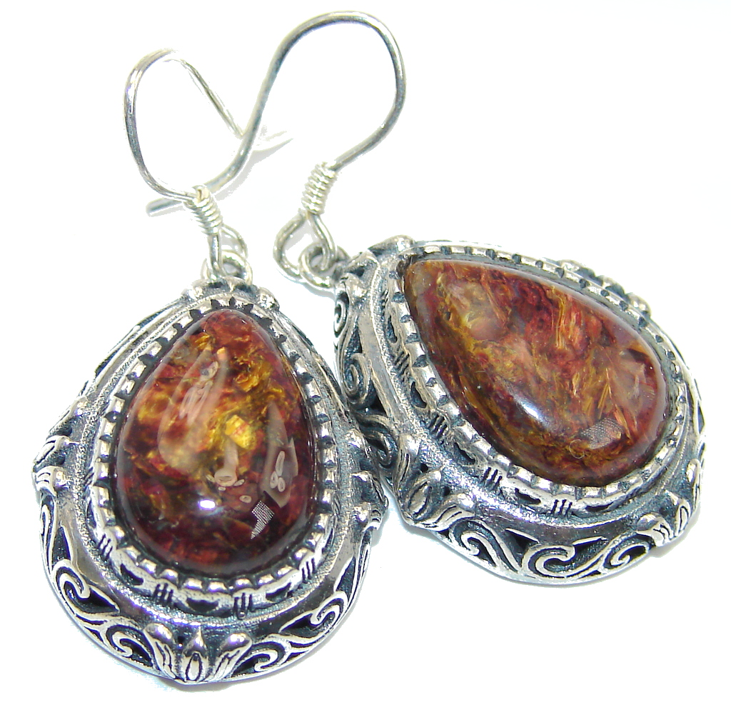 Classic Golden Pietersite Sterling Silver hand made Earrings