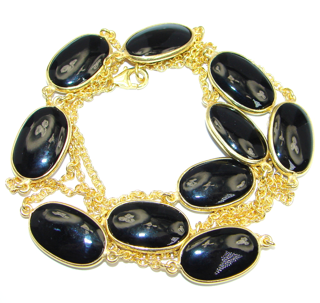 36 inches Genuine Onyx Gold over Sterling Silver Necklace