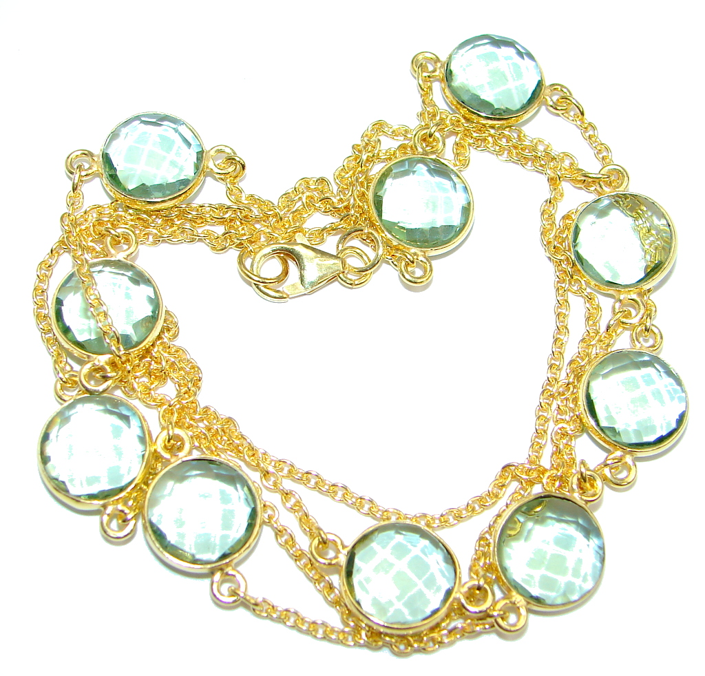 36 inches created Green Amethyst Gold over Sterling Silver Necklace