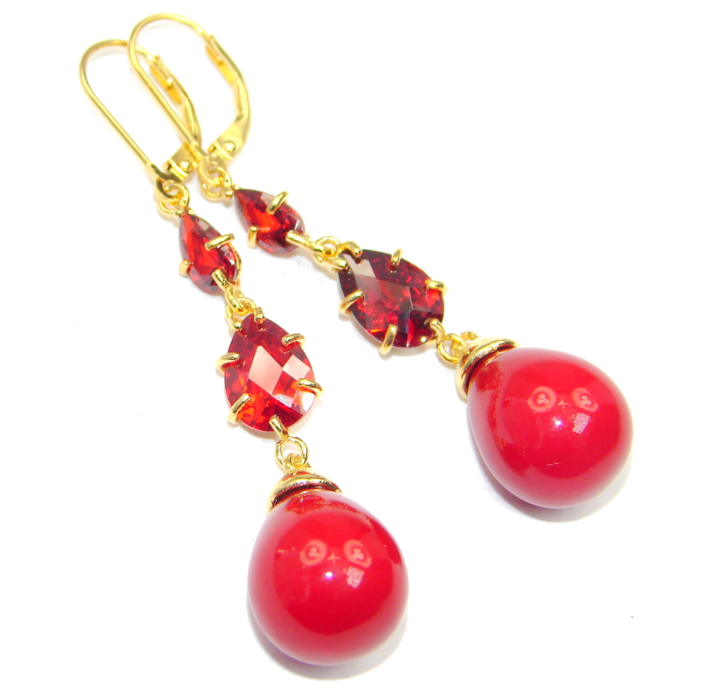 Deep Love Red Fossilized Coral Gold plated over Sterling Silver earrings