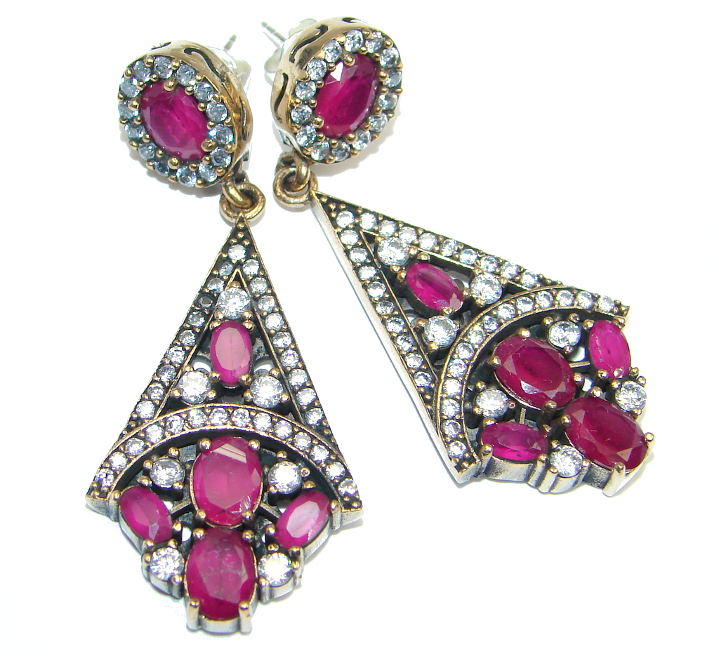 Great Victorian Style created Ruby Sterling Silver earrings